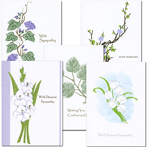 Sympathy Card Assortment- 2 each of 5 designs, Boxed 10 cards & env Made in USA by CroninCards