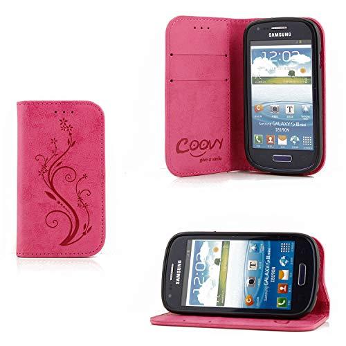 COOVY® Cover für Samsung Galaxy S3 Mini GT-i8200 GT-i8190 GT-i8195 Case Wallet Schutz Etui mit Kartenfach, Standfunktion + Schutzfolie - Design Blume | Farbe hotpink