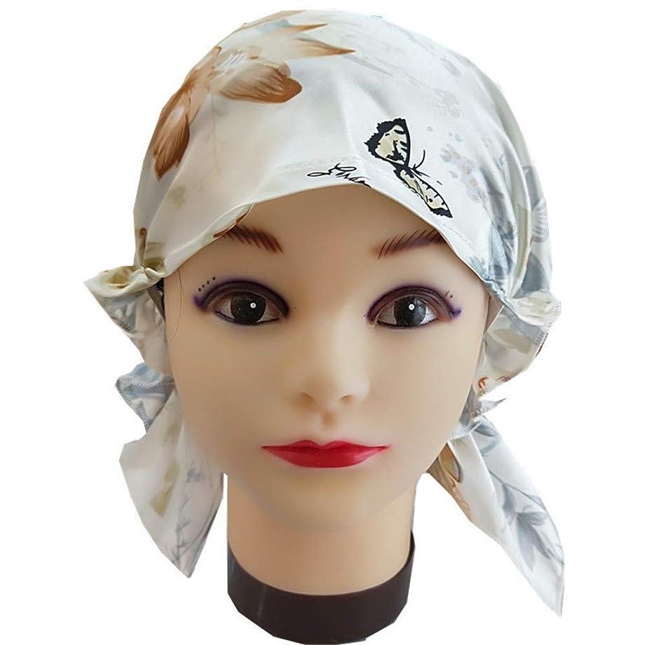 みなすアピールコードレス弾性スリーピングキャップ 調節可能な弾性リボンで帽子ソフトを眠っている髪の美しさの女性のためのナチュラルシルクスリープナイトキャップ (色 : Printed pattern, サイズ : Free size)