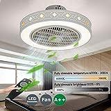 Ventiladores De Techos Con Iluminación Velocidad Del Viento Ajustable Ventilador De Techo Carrefour Remoto Control Regulable 80W LED Techo Lámpara Súper Silenciosa Invisible Ventilador,50cm(b)