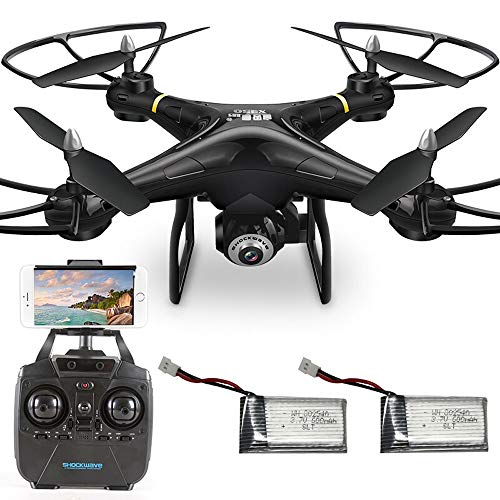 Kikioo Drones with Cameras, Quadcopter Drone with WiFi FPV 720P HD Camera, Altitude Hold&Headless Mode&One Key Return&Custom Flight Path, Best Drone Gifts for Beginners, Kids and Adult (2 Batteries)