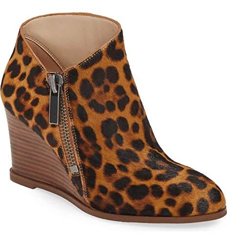 1. State Kaleb Wedge Brown Multi Leopard Ankle Bootie Mid Wedge Designer Boot (8.5, Brown Multi)