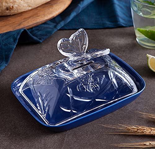 Qwhone Plato De Mantequilla De Porcelana Plato De Mantequilla con Tapa De Vidrio, Grande con Plato De Mantequilla De Cubierta CeráMica Butter Keeper, Plato De Queso Crema De Vidrio Transparente,Azul