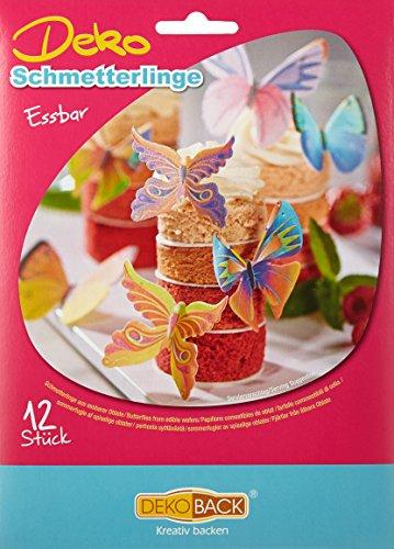 Decocino Essbare Schmetterlinge HOCHWERTIGE Tortendeko von DEKOBACK | essbare Schmetterlinge aus Oblaten | 1er Packung (1 x 4 g) | 12 Motive in der Packung | Schmetterlinge Kuchendeko kaufen