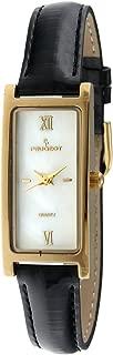Women's 3017BR Analog Japanese Quartz Gold-Tone Leather Strap Watch