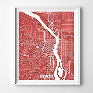 Portland Oregon City Street Map Wall Art Home Decor Poster Urban City Hometown Road Print - 70 Color Choices - Unframed