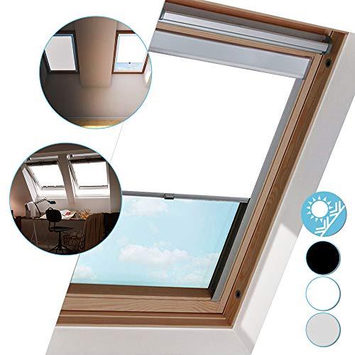 Hengda Dachfenster Rollo Verdunkelungsrollo, Verdunkelung & Thermo Hitzeschutz für VELUX Dachfenster, M06 Weiß (61.3x94cm)