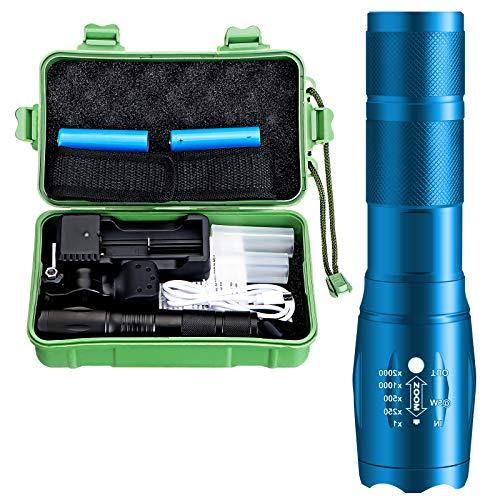 OUTERDO LED Taschenlampe, Taschenlampe Set mit 2 Batterie Extrem Hell 3000 Lumen, 5 Modi Aufladbar Flashlight, IP65 Wasserdicht Zoombar für Camping, Fahrrad, Notfälle und Wandern
