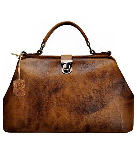 ZLYC Damentasche Retro-Stil Handgefertigt Echtleder Aktentasche Cross Body Handtasche, Braun, Maße:34 X 21 X 15 cm