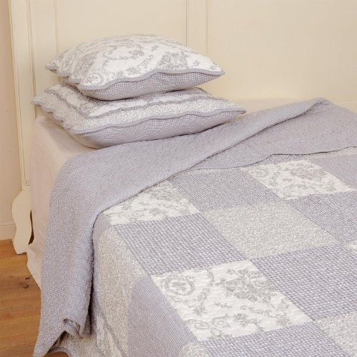 Clayre & Eef Q080.060 Tagesdecke Plaid Quilt Decke Patchwork Paisley blau 180 x 260 cm