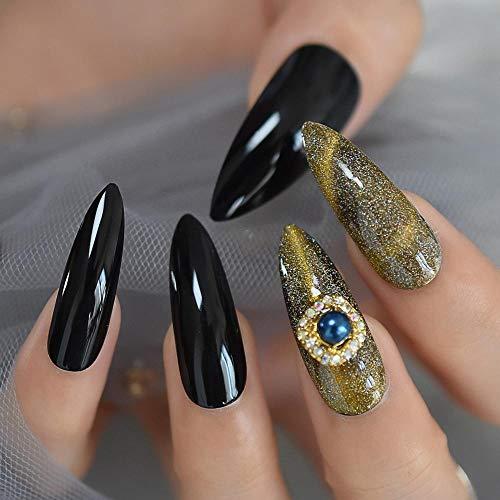 Wangguifu 3D Diamant Faux Ongles Mode Extra Long Point Cat Eye Effet Pologne Uv Gel Nail Galaxy Shimmer Talon Aiguille En Caoutchouc 24