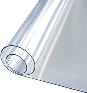 HHUU PVC bordsduk 2 mm tjock transparent duk, mjuk glasväv skyddskudde klar bordsskydd plast bordsduk skrivbordsskydd vatt...