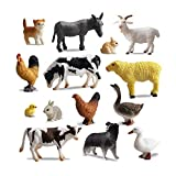 TOYMANY 14PCS 0.3-2' Tiny Farm Animal Figures Toy, Detailed Texture Farm Figurines Cake Topper Toy Set, Easter Egg Christmas Birthday Gift Party Favor School Project for Kids Children Toddlers