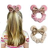 YanJie Women Mouse Ears Sequin Bows Velvet Scrunchies Elastic Rubber Hair Band...
