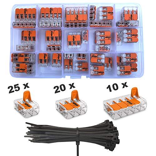 WAGO Klemme 55 Stück Set Sortiment 25x 221-412 | 20x 221-413 | 10x 221-415 Klemmen mit intervisio Kabelbinder 80mm