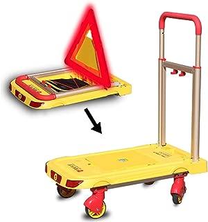 198lb/90kg Capacity Folding Platform Cart Truck with Warning Light, Triangle Warning Sign, USB Charging, Moving Warehouse Push Cart Dolly Heavy Duty, Aluminum, Yellow