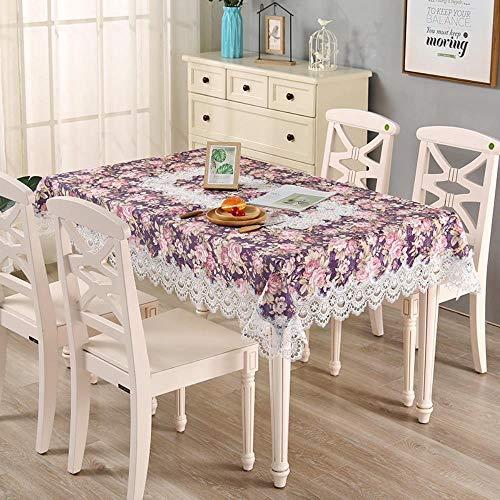MIDUO - Mantel de mesa, diseño de lunares, color morado, 110 x 160 cm