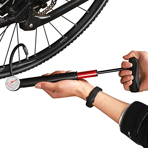 CNLOYUA Mini Fahrradpumpe Fahrrad Luftpumpe, mit Manometer, 80 psi 5, 5 bar Minipumpen für Rennrad, Fußbälle, Mountainbike, Basketbälle Luftpumpe Fahrrad