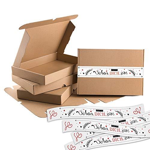 Logbuch-Verlag 5 große Geschenkschachteln Kraftpapier + Aufkleber SCHÖN DASS ES DICH GIBT Verpackung Maxibrief 30,5 x 20,2 x 4,5 cm Geschenkbox Geburtstag Schachtel natur