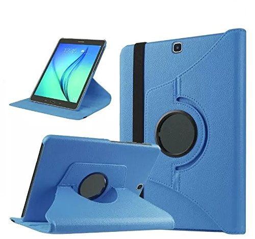 GlobalShop2016 &apos 360Degree Rotating Tablet Case for Samsung Galaxy Tab S29.7sm-t810T815 Funda + Protector + Stylus blue