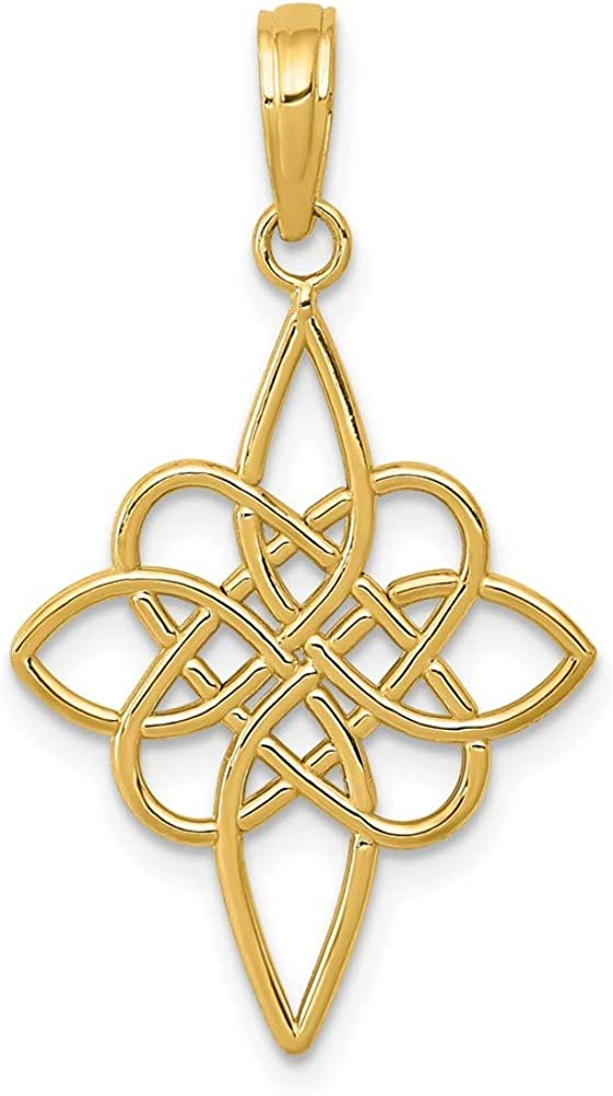 14k Yellow Gold Irish Claddagh Celtic Knot Pendant Charm Necklace Religious Cross Passion Fine Jewelry For Women Gifts For Her