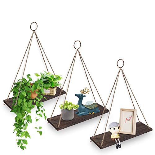 AGSIVO Floating Shelves with String,Hanging Shelf Wall Mounted Jute Rope,Rustic Wood Wall Shelves Swing Shelf Picture Ledge Home Storage Organizer Wall Decor for Bedroom Living Room Bathroom Set of 3