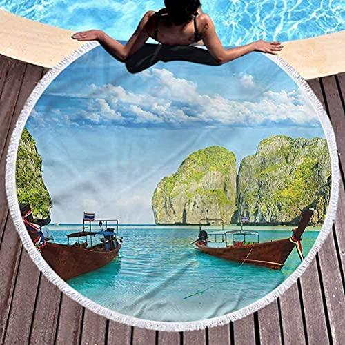 Toalla de Playa Redonda Paisaje Tapiz Redondo Barco Colgante de Pared Maya Bay Uso de Tailandia para niños Mujeres Hombres Niño Niña Redondo59 Pulgadas