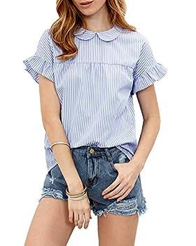 SheIn Women s Peter Pan Collar Blouse Short Ruffle Sleeve Babydoll Shirt Top Large Blue