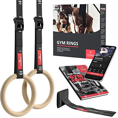 Gymnastic Rings Set Wood + Door Anchor Attachment, Exercise eBook & Adjustable Safety Straps + Length Markings   Wooden Olympic Gym Gymnastics Athletic Fitness   Home Workout Muscle Training Equipment