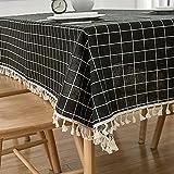 XQSSB Mantel para Mesa de Cocina o Salón Hojas Rectangular Algodón y Lino Transpirable Lavable Diseño de Comedor Decoración del Hogar Negro 140 × 240cm