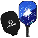 XS XSPAK Pickleball Paddle - Lightweight Graphite/Carbon Fiber Face & Polypropylene Honeycomb Composite Core Paddles Including Racket Cover, USAPA Approved, Blue