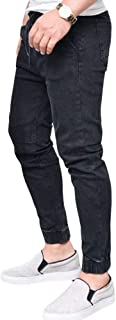 WanYangg Skinny Pantaloni Uomo Jeans Elasticizzati, Maschili Lunghi Stretch Logoro Coulisse Pantaloni in Jeans Tinta Unita...
