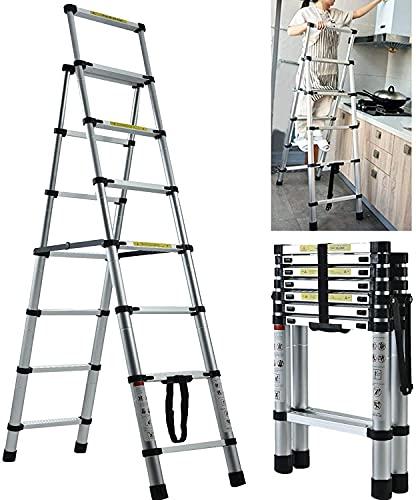 伸縮脚立はしご 最長2.3m 6段+7段 超安定兼用脚立 踏み台 折りたたみ 折り畳み 伸縮アルミはしご 持ち運びに便利 軽量 耐荷重150 kg 室内室外両用 自動ロック 安全ロック 安全クロスバー スライド式 アルミ梯子 日本語説明書 10年保証 2M