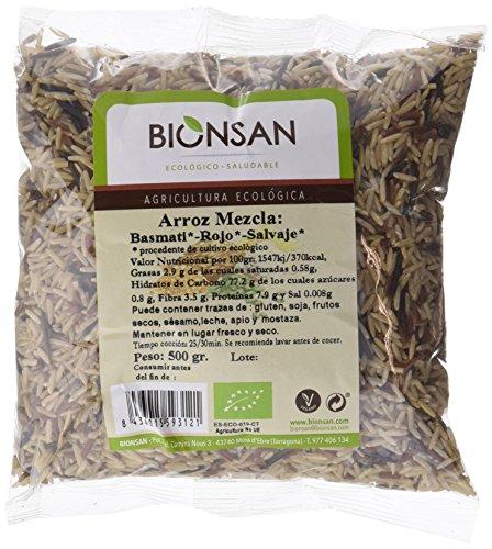 Bionsan Arroz Mezcla Largo Integral, Rojo y Salvaje Ecológico, 6 Paquetes de 500 G, Total 3000 Gramos