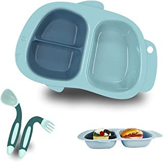Toddler Bowl and Plate Set with lid and Bendable Spoon Fork Baby Feeding Set BPA Free