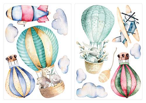 dekodino® Wandtattoo Aquarell Heißluftballon Tiere Wanddeko Set