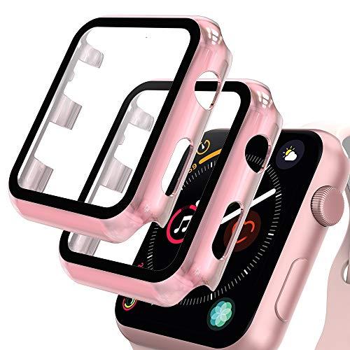 GeeRic 2PCS Pellicola Vetro Temperato Compatibile per Apple Watch 42mm Serie 3/2/1 HD Cover Resistente Urti Pellicola Copertura Completa Custodia Compatibile per Apple Watch 42mm Serie 3/2/1 Oro Rosa