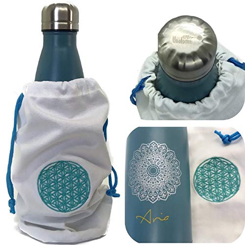 Unalome® Botella térmica de acero Vsco con diseño italiano de mandala, para bebidas calientes, frías, 12 horas, 500 ml, sin BPA, termo agua, de metal, portátil para viajes