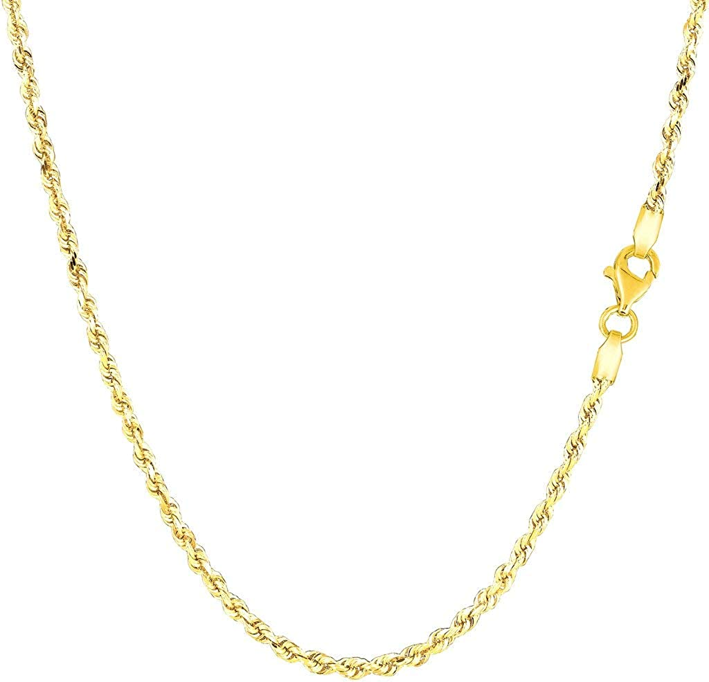 14k SOLID Yellow or White Gold 2.00mm Shiny Diamond-Cut Royal Solid Rope Chain Necklace for Pendants and Charms with Lobster-Claw Clasp (7