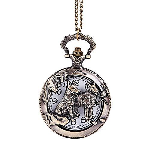Reloj de bolsillo Reloj de bolsillo Vintage esculpido animal perro patrón reloj...