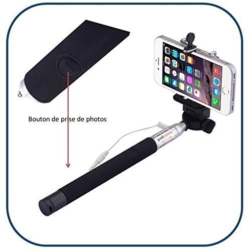 Alpexe Selfie Stick with Button Release Integrated to the Handle (No Risk of Loss of the Remote Control) Connection to the Mobile Phone Jack + Monopod Pole + Adapter Stand for Tripod (Dim. Approx. 100 cm Max) – for Smartphone with Jack Port – Selfie Autoportrait Camera on Shoulder Monopod for iPhone, Perfect for Business, Leisure, Plug the Jack, Go MOD