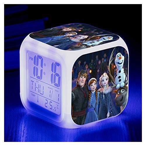 Upretty LED Wecker 7 Farben ELSA und Anna Nachtlicht leuchtende LED elektronische Digitale Thermometer Schreibtisch Tischuhr Kinder Geschenk