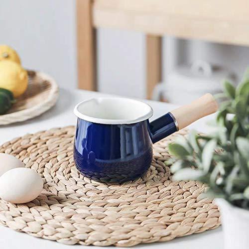 SLHEQING Emaille Klein Milchtopf Antihaft Milchpfanne mit Holzgriff Mini Stieltopf mit Ausguss