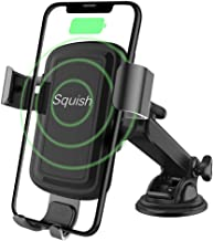 Wireless Charger Car Phone Mount, Squish Qi Fast Charging Wireless Car Charger Mount 10W 7.5W, Cell Phone Holder for iPhone Xs Max/XS/XR/X/8Plus/8 and for Samsung S10/S9/S9+/S8/S8+/Note9/Note8 etc