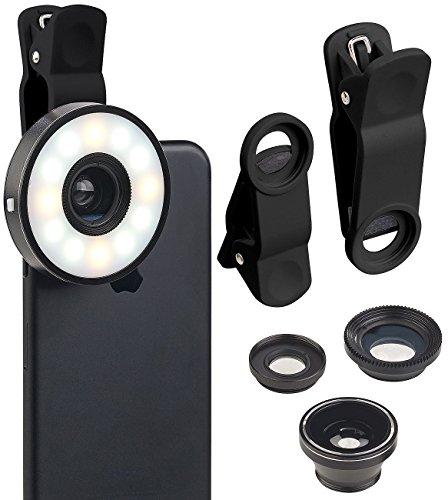 Somikon Ringlicht: 4in1-Vorsatz-Linsen-Set mit Weitwinkel, Makro, Fischauge und LED-Ring (Selfie Licht)