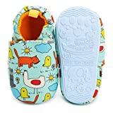 Timatego Toddler Baby Boys Girls Shoes Non Skid Slipper Sneaker Moccasins Infant First Walker House Walking Crib Shoes(6-24 Months) Baby Slipper 9-12 Months Infant, 01 Blue Chick