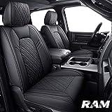 Aierxuan Dodge Ram Car Seat Covers Full Set Custom Fit 2009-2021 1500 2010-2021 2500 3500 Pickup Truck Crew Double Quad cab Waterproof Leather Cushions(Full Set, Black)