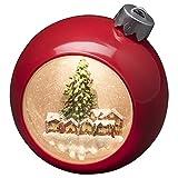 Konstsmide, 4360-550, LED Weihnachtskugel 'Weihnachtsmarkt', wassergefüllt, 5h Timer, warm weiße Diode, batteriebetrieben, Innen