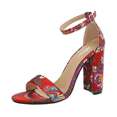 Ital-Design Damenschuhe Sandalen & Sandaletten High Heel Sandaletten Canvas Rot Gr. 38
