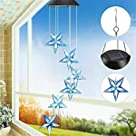 Yooda Color Changing Wind Chime Solar Powered Hummingbird Wind Chime Lights Wind Mobile Portable Waterproof Outdoor Decorative Wind Bell Light for Home Party Night Garden Decoration 3